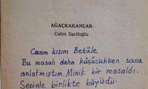 Zarifoğlu'nun kızına imzaladığı kitap